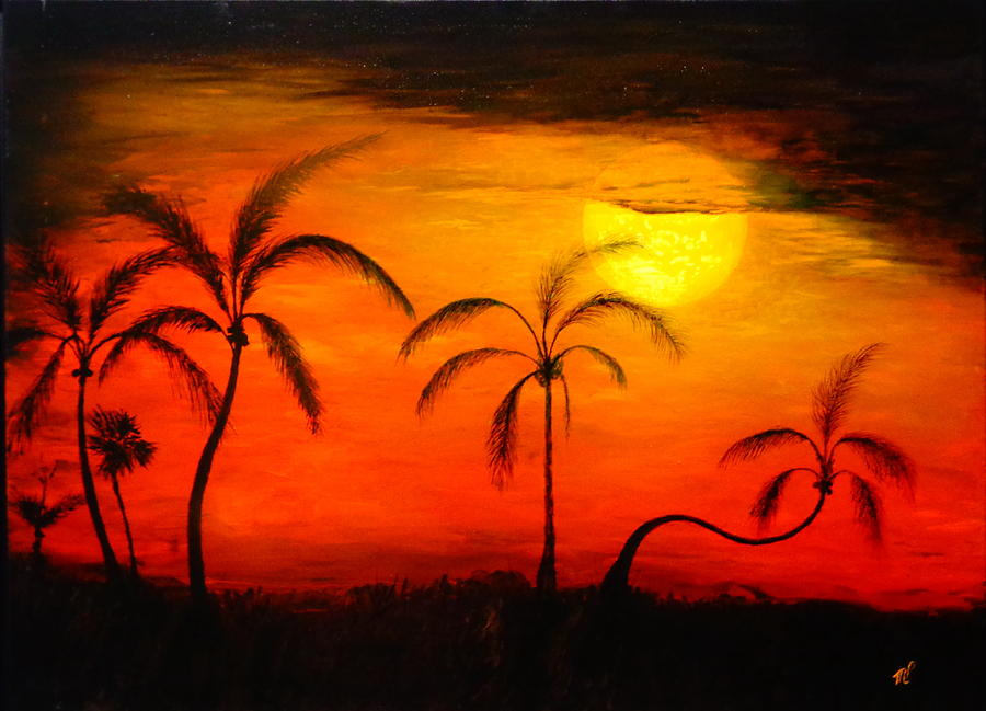 Oil Painting Painting - The Florida Sun by Monty Perales