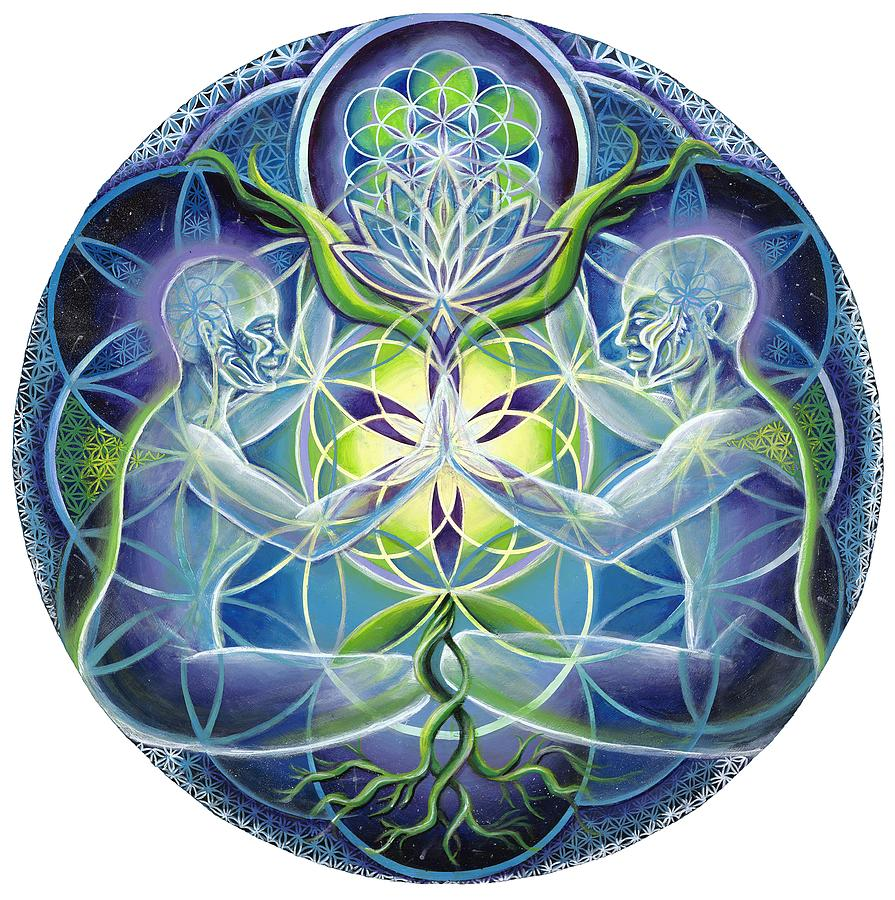 Flower Painting - The Flowering Of Divine Unification by Morgan  Mandala Manley