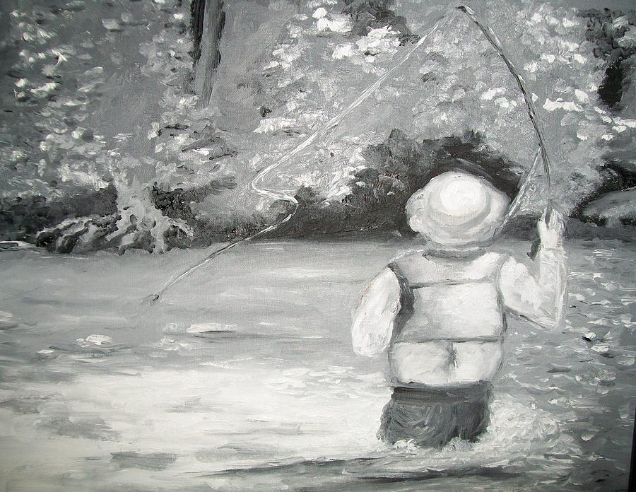 Fishing Painting - The Fly Fisherman by Jenell Richards