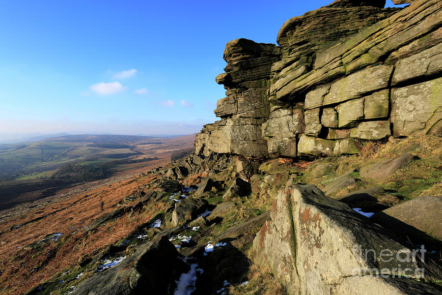 Stanage Edge Photograph - The Gritstone Rock Formations On Stanage Edge by Dave Porter