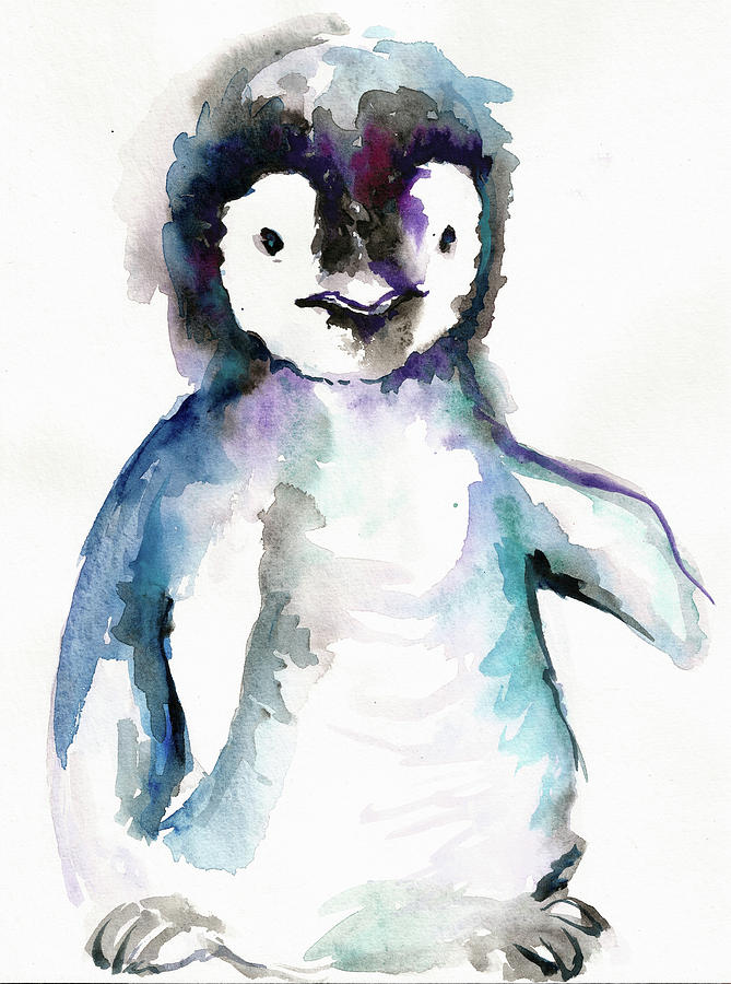 The Happy Penguin Watercolor Painting