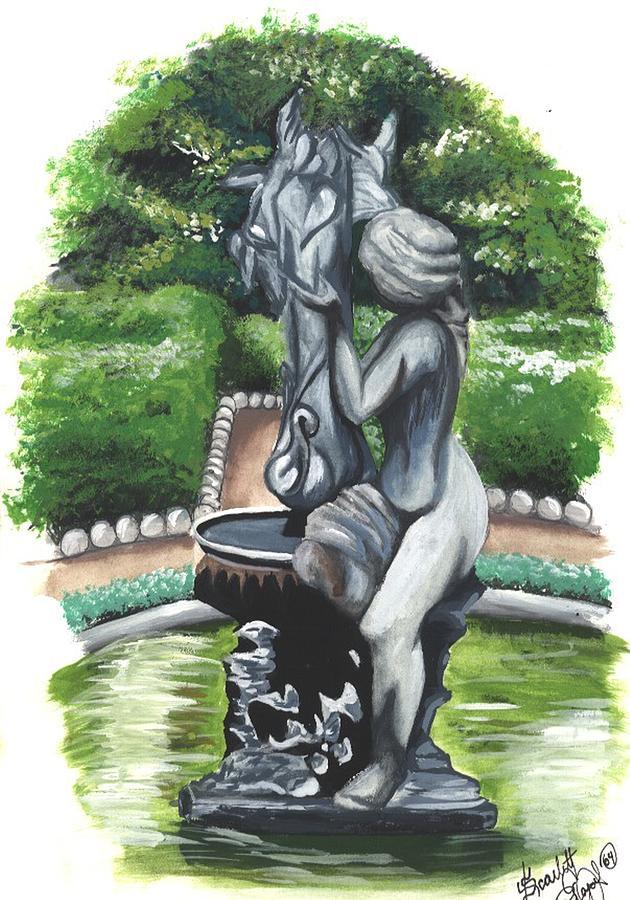 Fountain Painting - The Hidden Fountain by Scarlett Royal