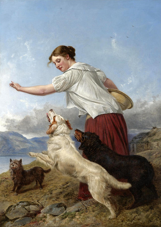 Dogs Painting - The Highland Lassie by Richard Ansdell