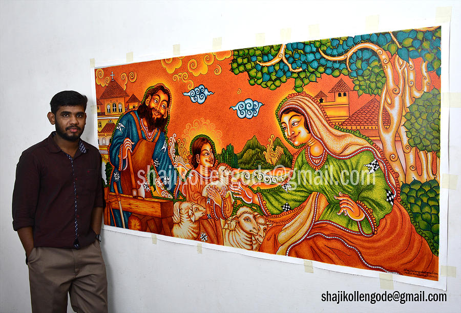 The Holly Family Kerala Mural Painting By Shaji Kollengode