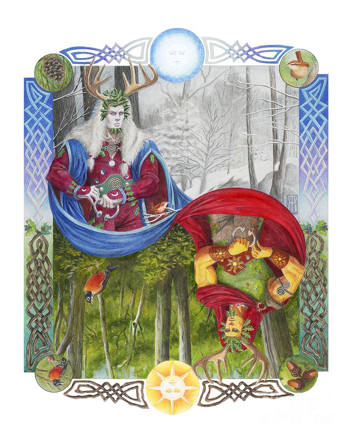 Pagan Painting - The Holly King And The Oak King by Melissa A Benson