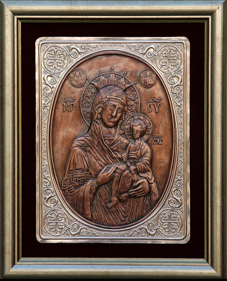 Icons Relief - The Holly Mother With Jesus Christ by Netka Dimoska