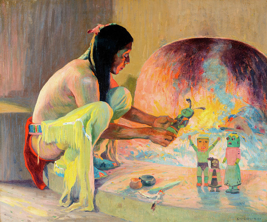 Feathers Painting - The Kachina Maker 1 by Eanger Irving Couse