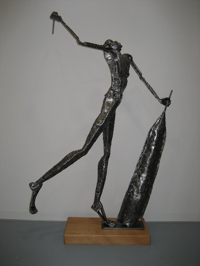 Welded Sculpture Sculpture - The Kings Town Cryer by Marshall Agbo