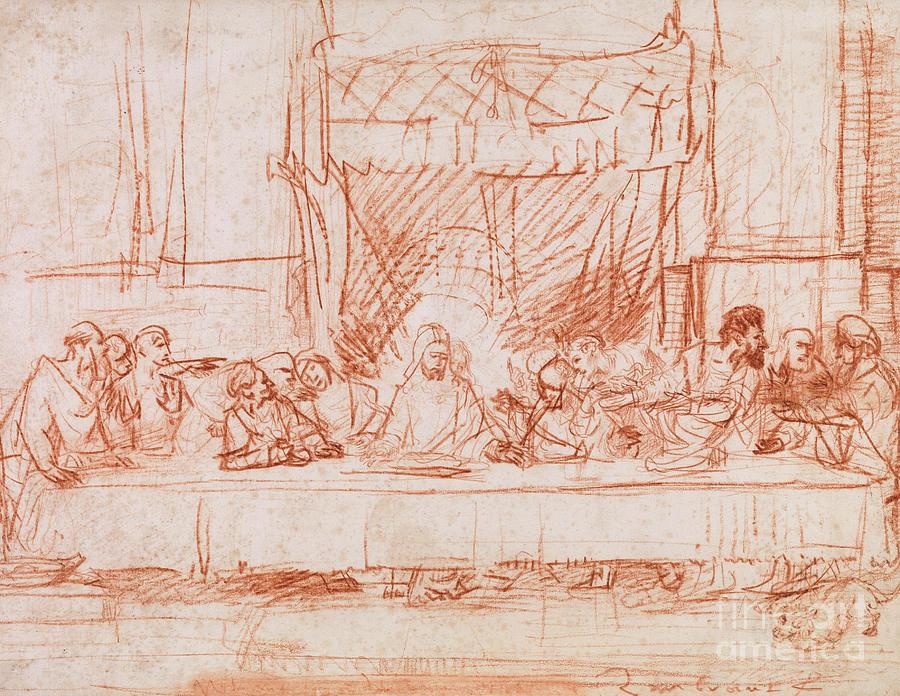 Rembrandt Drawing - The Last Supper, After Leonardo Da Vinci by Rembrandt