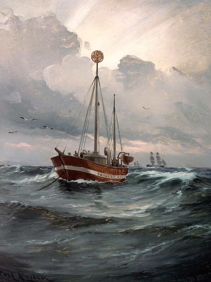 Painting Painting - The Lightship At Skagen Reef by Mountain Dreams
