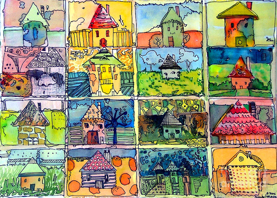 Houses Painting - The Little Houses by Mindy Newman
