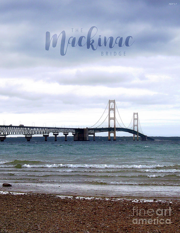 Bridge Digital Art - The Mackinac Bridge by Phil Perkins