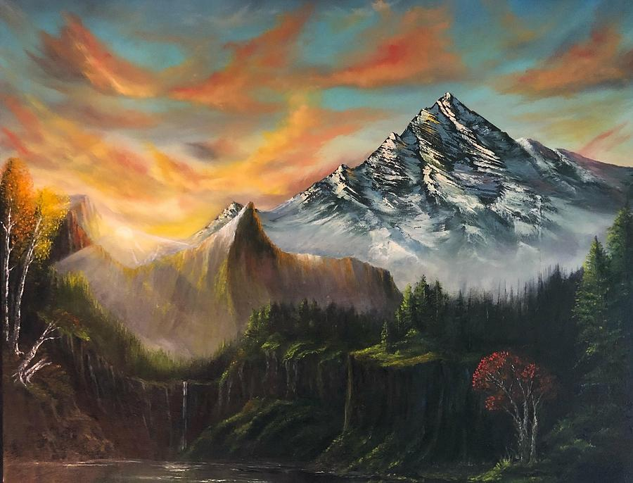 Landscape Painting - The Majestic Mountain by FA Chekki
