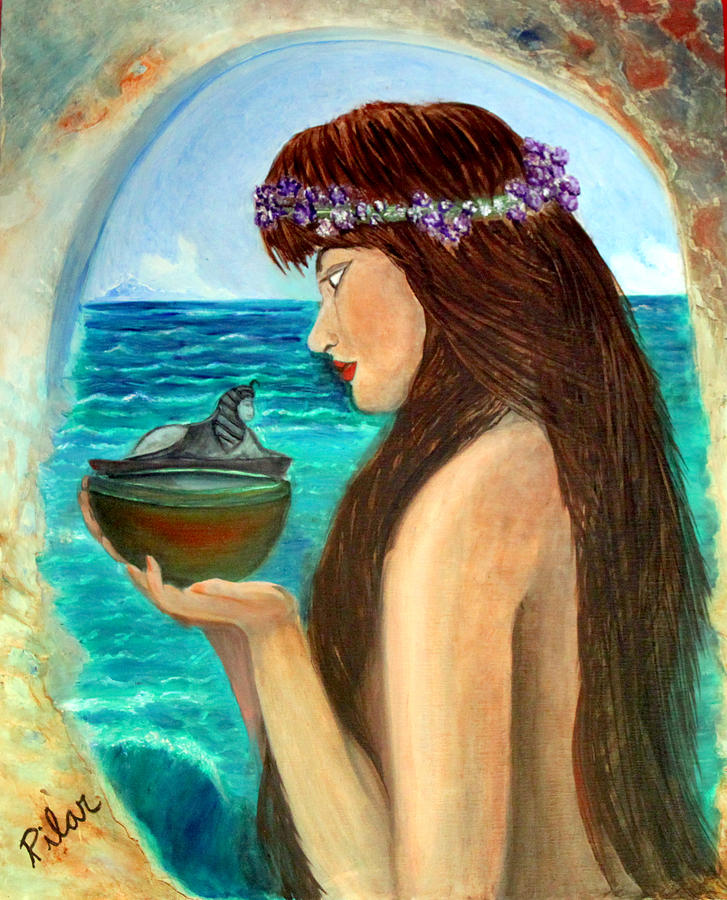 The Mermaid And The Pandora Box Painting by Pilar  Martinez-Byrne