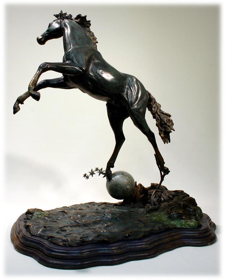 Bronze Sculpture - The Moonhorse Bronze  by Dawn Senior-Trask