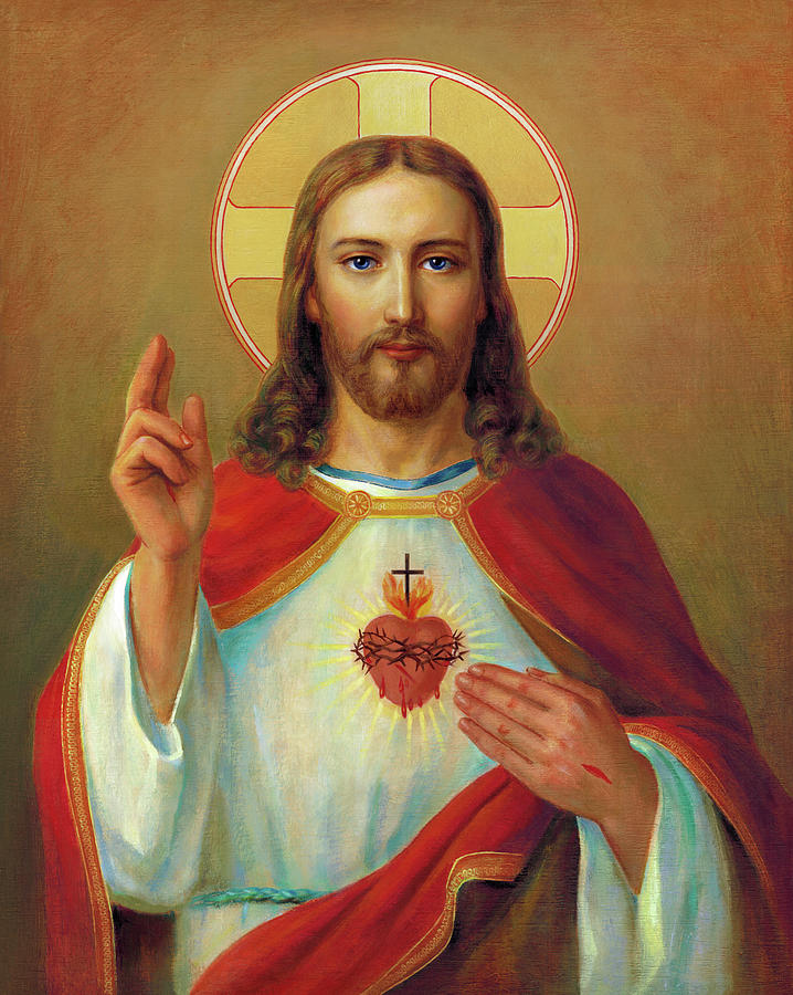 Sacred Heart Painting - The Most Sacred Heart Of Jesus  by Svitozar Nenyuk