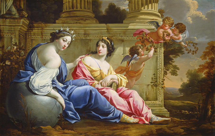 Simon Vouet Painting - The Muses Urania And Calliope by Simon Vouet