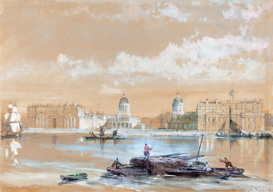 David Roberts Painting - The Naval College From The River At Greenwich by David Roberts
