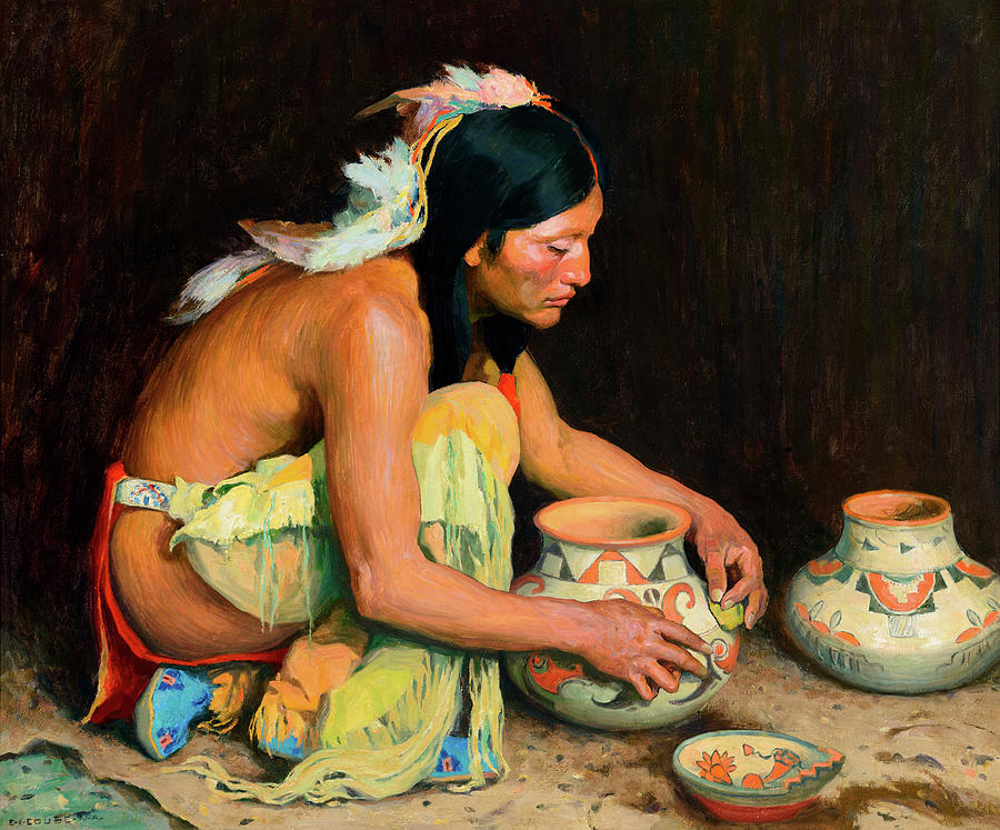 Feathers Painting - The Pottery Maker by Eanger Irving Couse