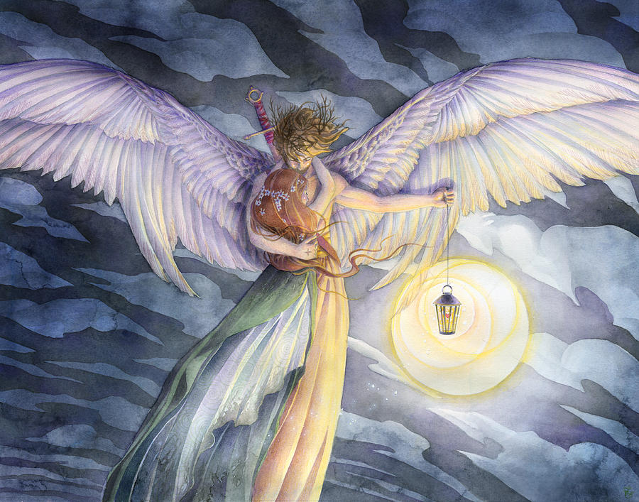 Angel Painting - The Protector by Sara Burrier