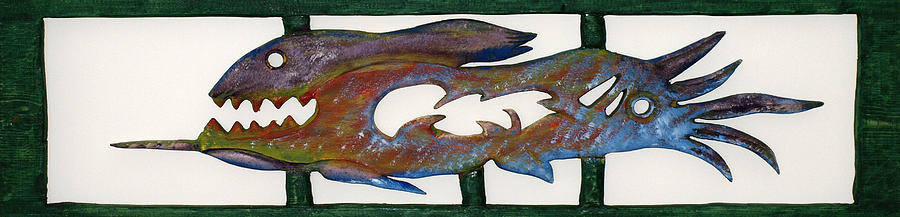 Skeletons Mixed Media - The Prozak Fish by Robert Margetts