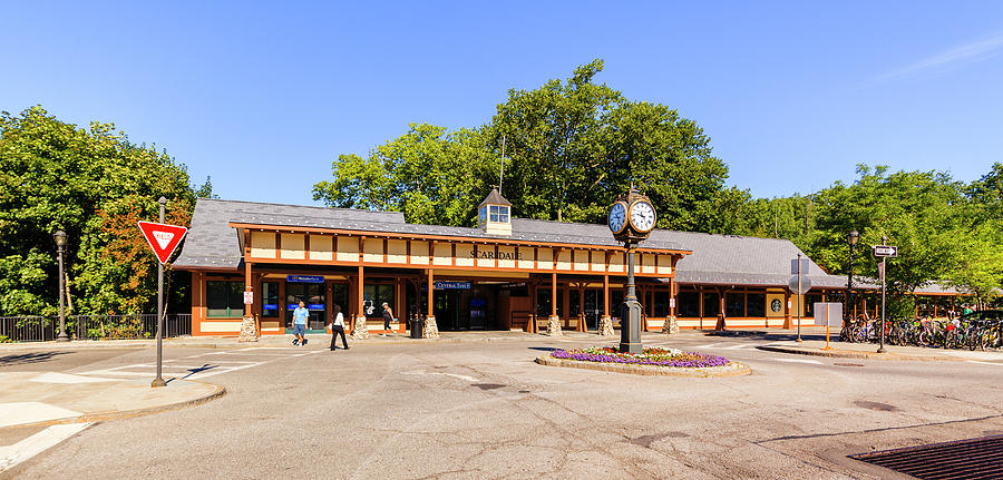 Scarsdale Photograph - The railroad station in Scarsdale by Alex Potemkin
