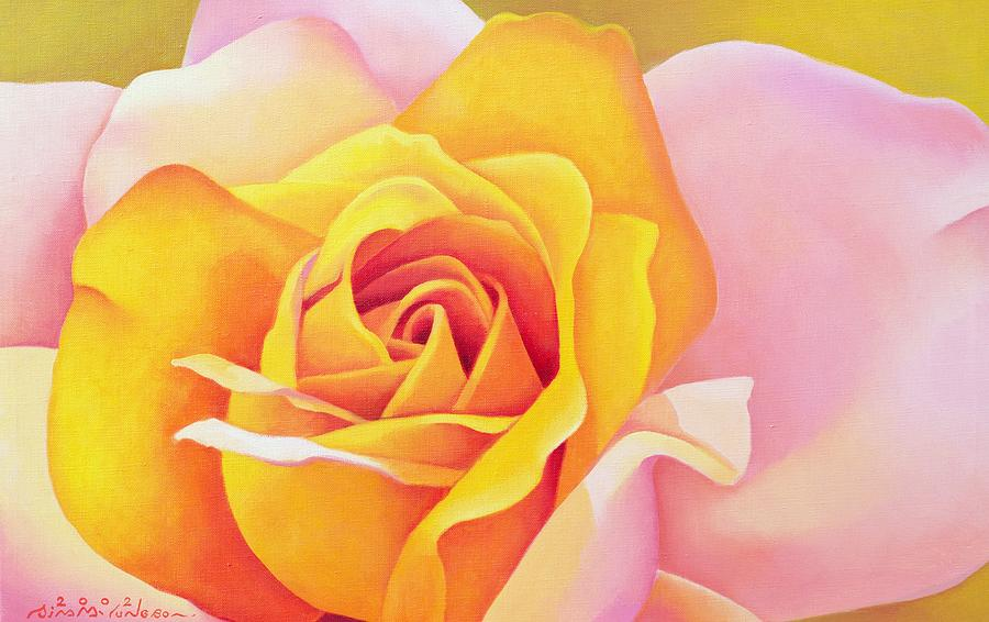 Flower; Yellow; Pink; Orange; Petals; Close Up; Rose Painting - The Rose by Myung-Bo Sim