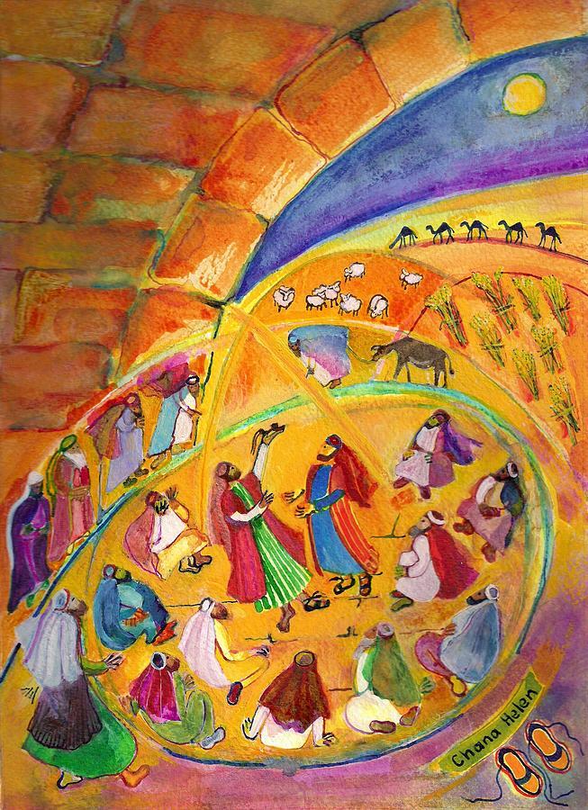 Ruth Painting - The Sandal Ceremony by Chana Helen Rosenberg