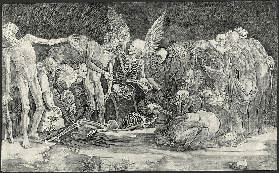 Famous Paintings Drawing - The Skeletons by After Baccio Bandinelli