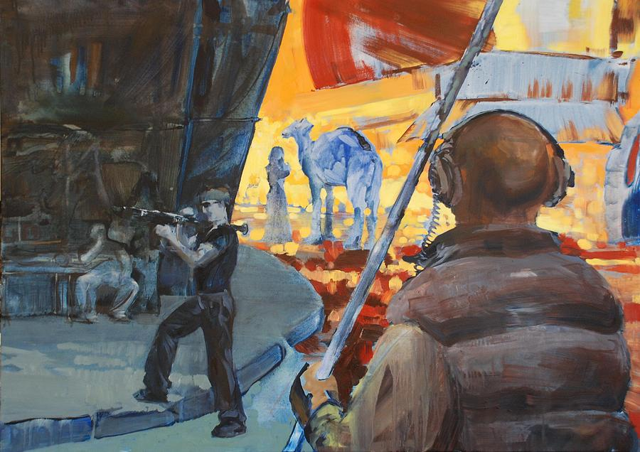The Sound Man And The Camel Painting by Amy Bernays