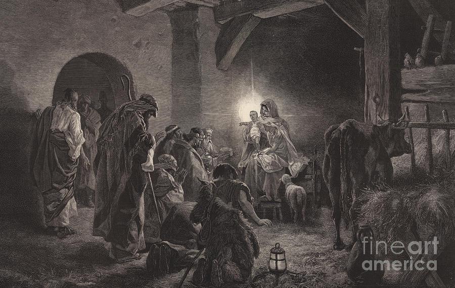 Star Of Bethlehem Drawing - The Star of Bethlehem by English School