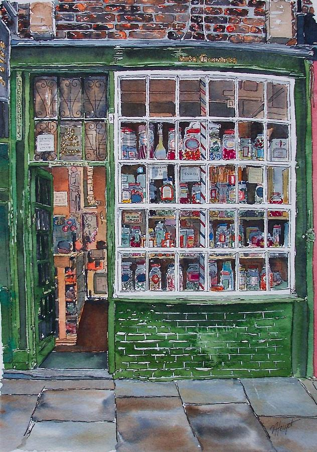 Street Paintings Painting - The Sweet Shop by Victoria Heryet