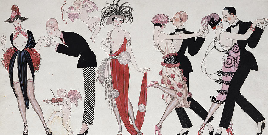 Barbier Drawing - The Tango by Georges Barbier
