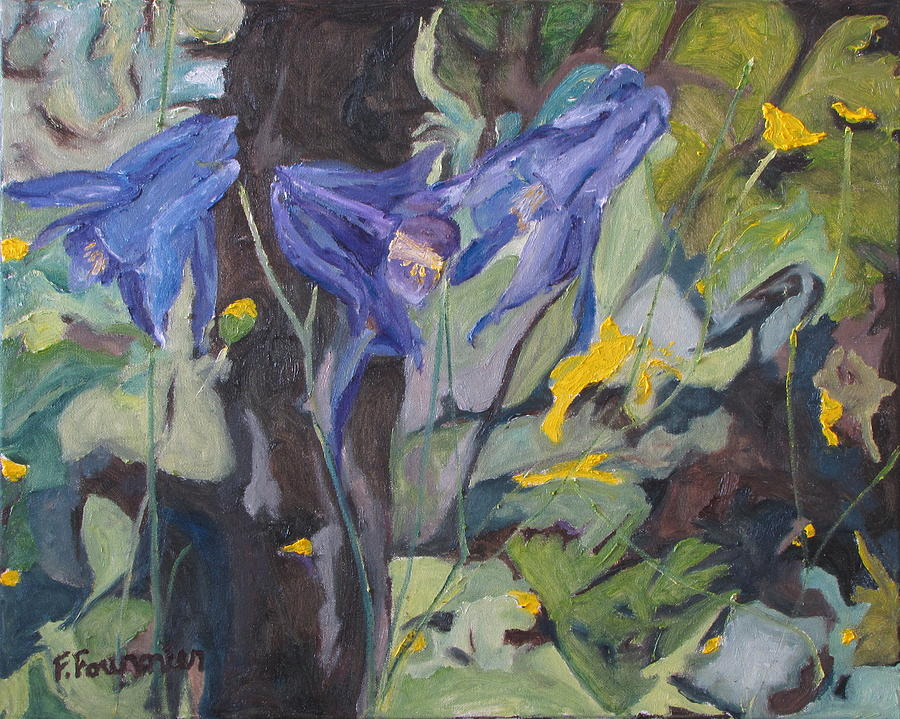 Fournier Painting - The Three Columbines  by Francois Fournier