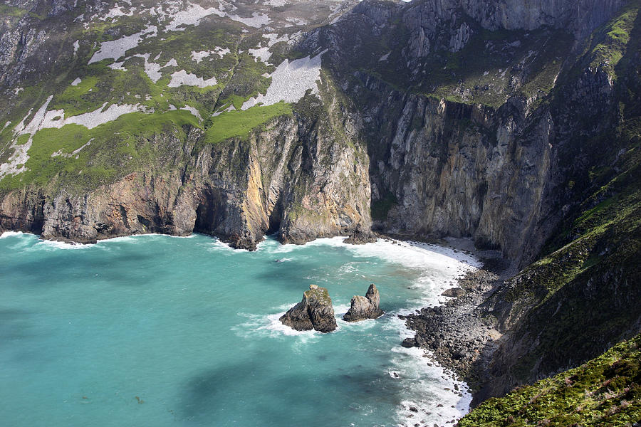 Slieve League Photograph - The Turquoise Water At Slieve League Sea Cliffs Donegal Ireland  by Pierre Leclerc Photography