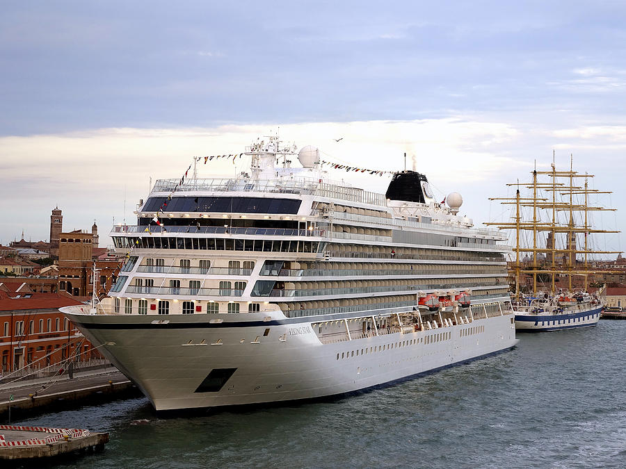 Viking Cruise Line Photograph - The Viking Star Cruise Liner In Venice Italy by Richard Rosenshein