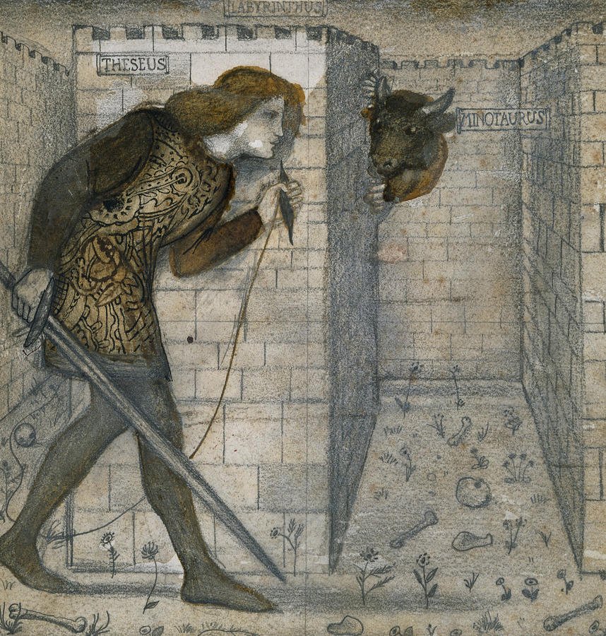 Burne-jones Drawing - Theseus And The Minotaur In The Labyrinth by Edward Burne-Jones