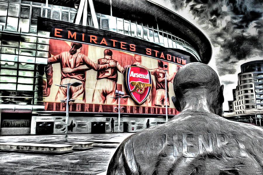 Thierry Henry Mixed Media - Thierry Henry Statue Emirates Stadium Art by David Pyatt