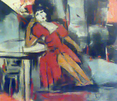 Figurative Abstract Painting - Thinking by Talal Ghadban