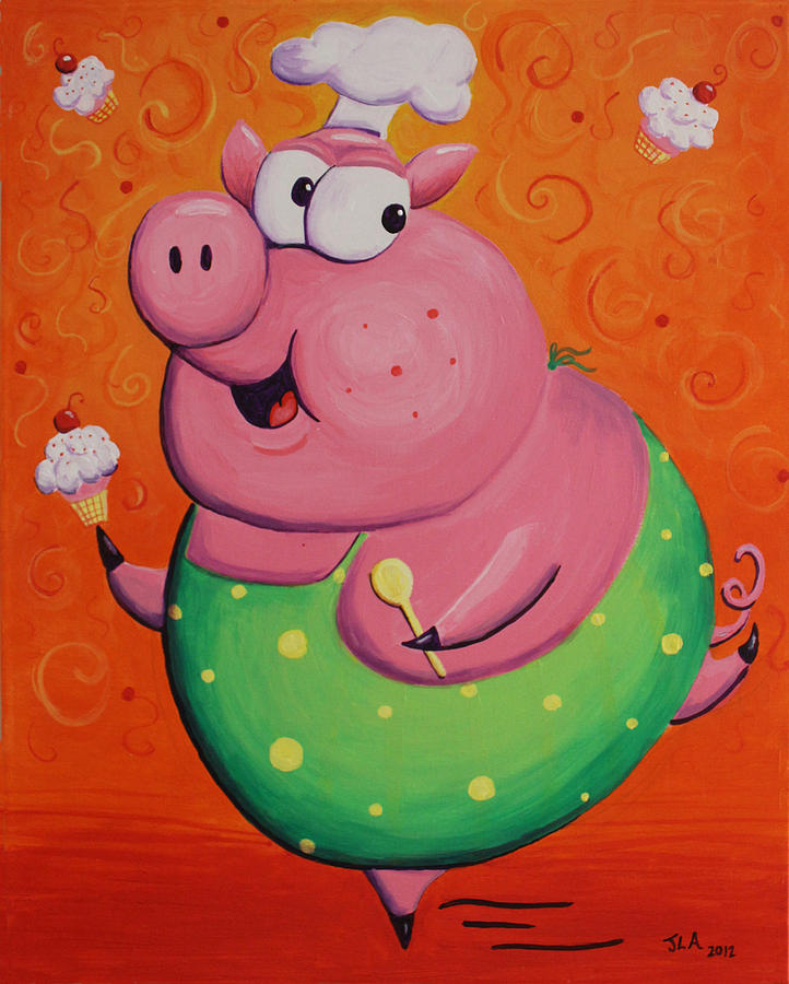 Pig Painting - This Little Piggy Baked Cupcakes by Jennifer Alvarez