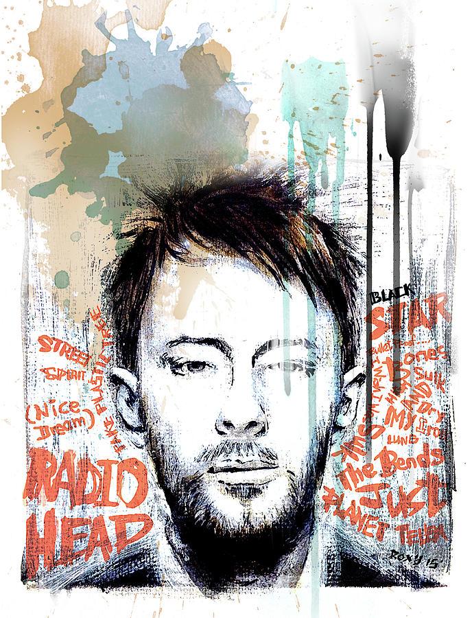 Radiohead Painting - Thom Yorke by Art Popop