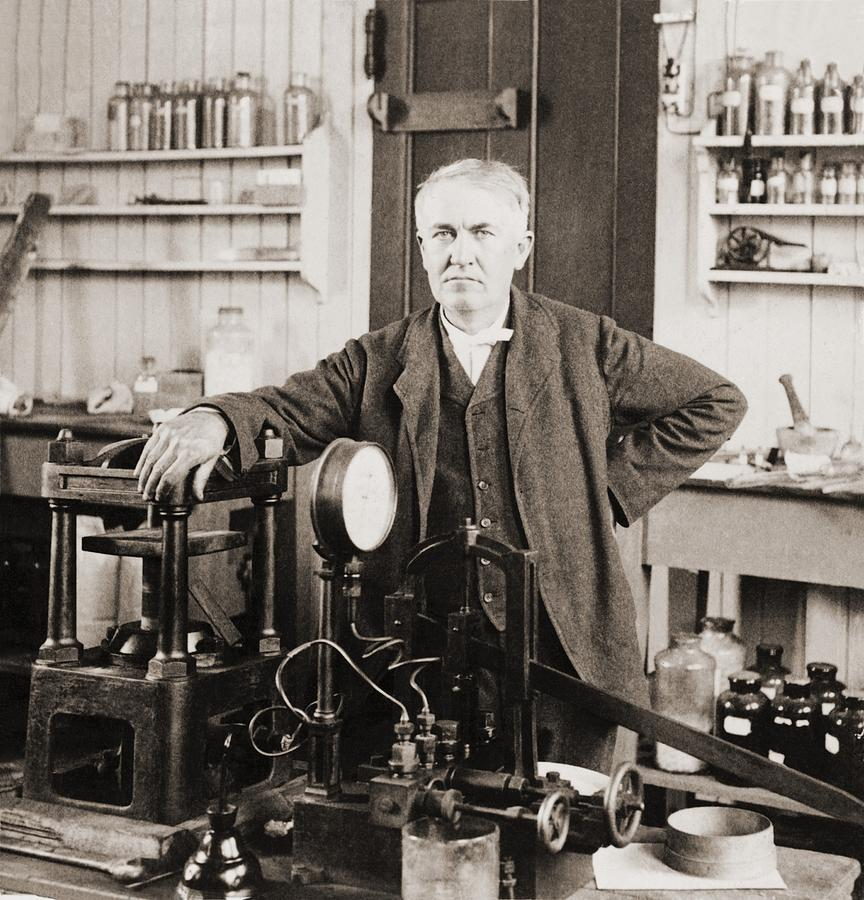 History Photograph - Thomas A. Edison 1847-1931, In His West by Everett