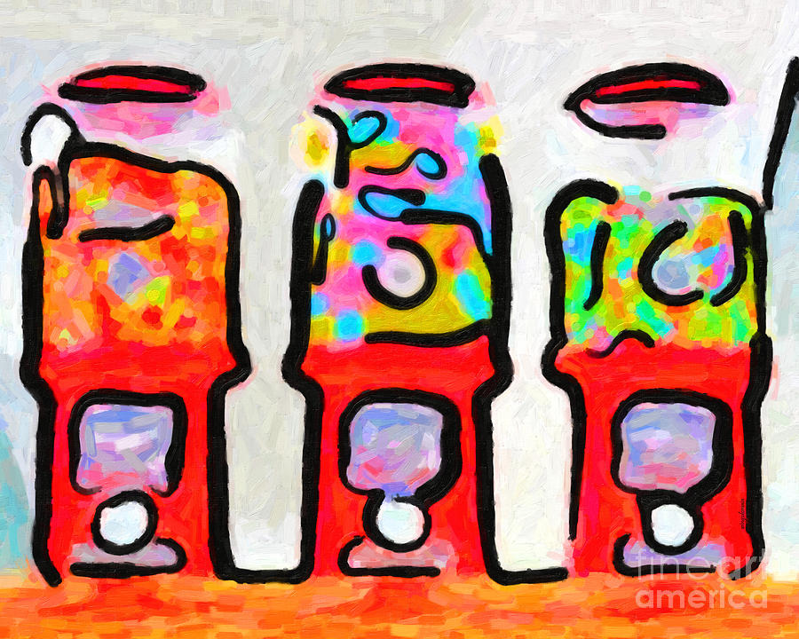 Candy Photograph - Three Candy Machines by Wingsdomain Art and Photography