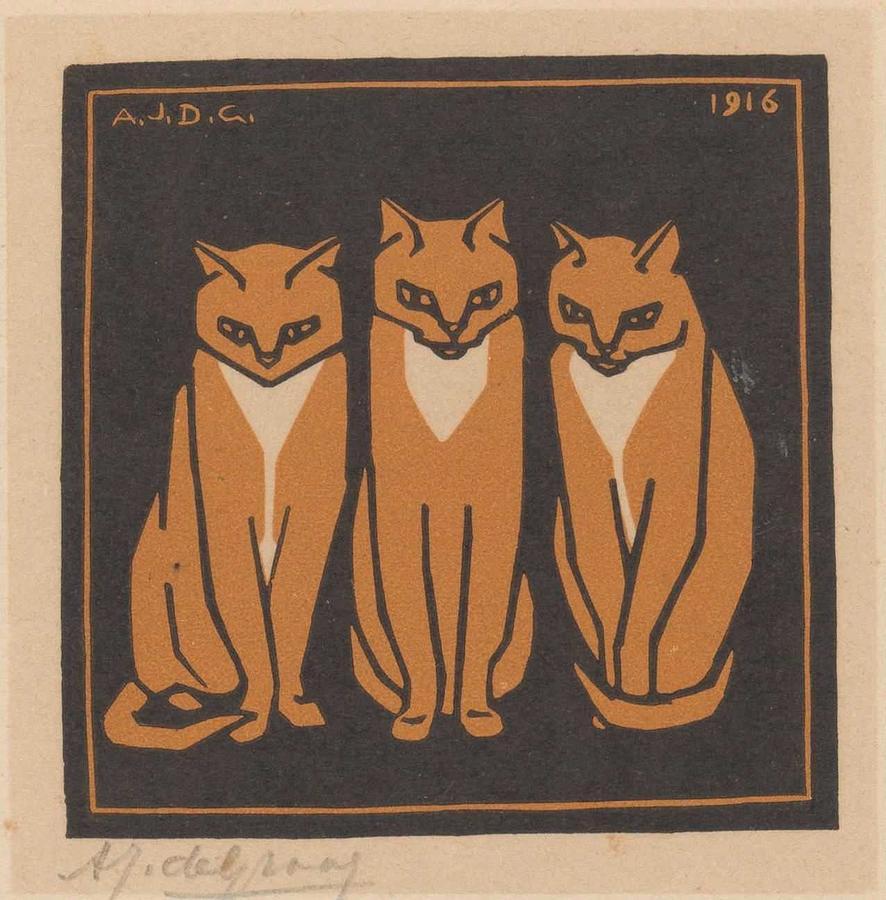 Animal Painting - Three cats, Julie de Graag, 1916 by Julie de Graag