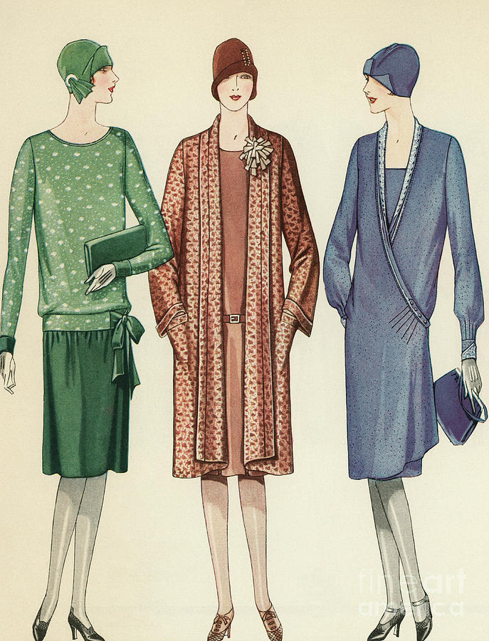 Flapper Painting - Three Flappers Modelling French Designer Outfits, 1928 by American School
