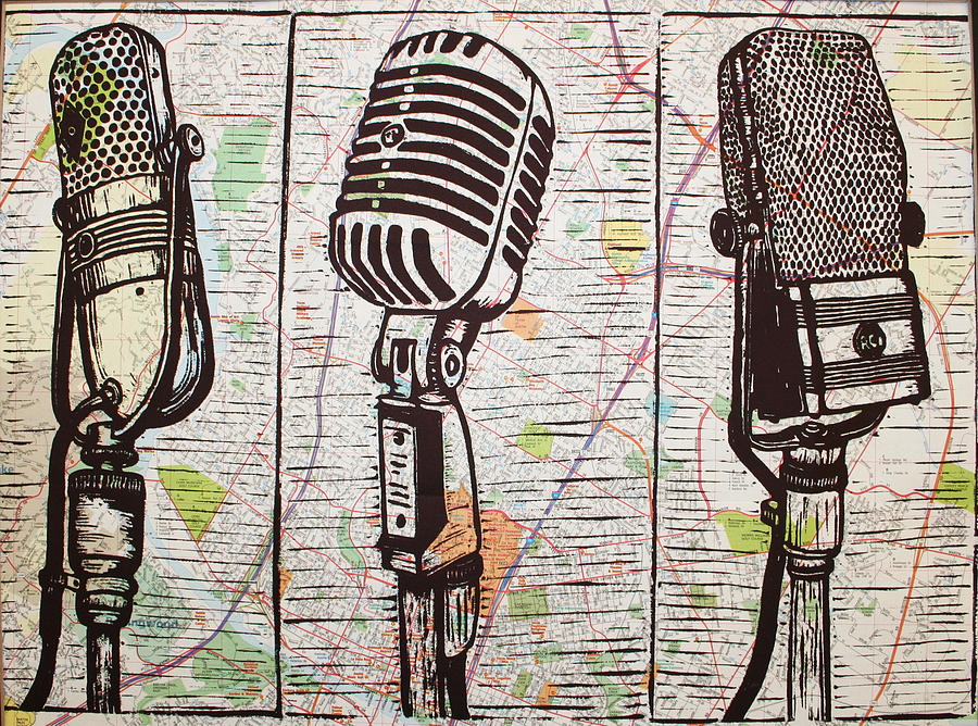 Rca Drawing - Three Microphones On Map by William Cauthern