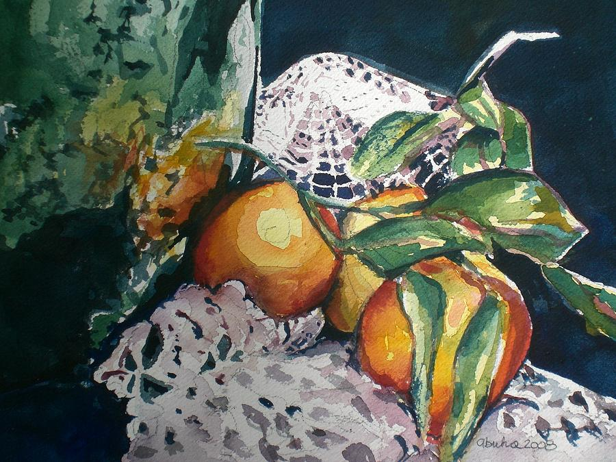 Oranges Painting - Three Oranges by Aleksandra Buha
