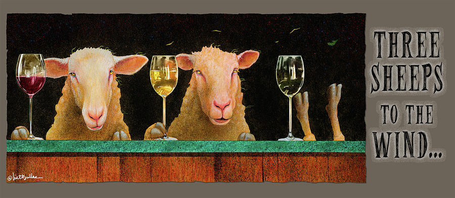 Sheep Painting - Three Sheeps To The Wind... by Will Bullas
