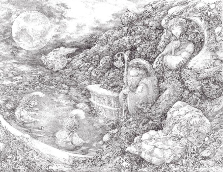 Fantasy Drawing - Tickler and the Sticklebacks by Jay Garfinkle