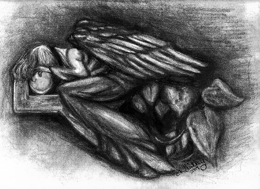 Angel Drawing - To Much To Bare by Elizabeth Guilkey